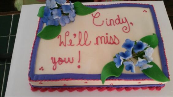 Amy's Crazy Cake - Farewell Cake for coworker with gumpaste flowers