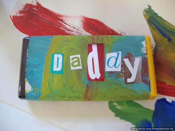 Father's Day gift: candybar wrapped in child's artwork