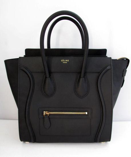 celine mini luggage tote bag navy smooth leather