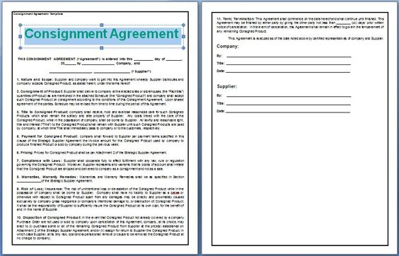 A Consignment Agreement is signed between two parties, the - format agreement between two parties