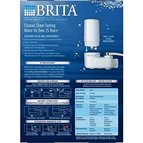 Brita Tap Water Filter System Water Faucet Filtration System With Filter Change Reminder Reduces Lead Bpa Free Fits Standard Faucets Only Basic White Pa Brita Tap Water Filters System Tap