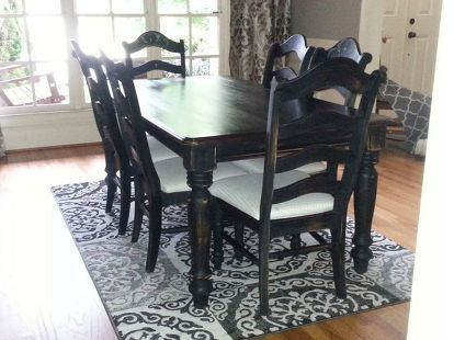 oak dining room set makeover, chalk paint, painted furniture