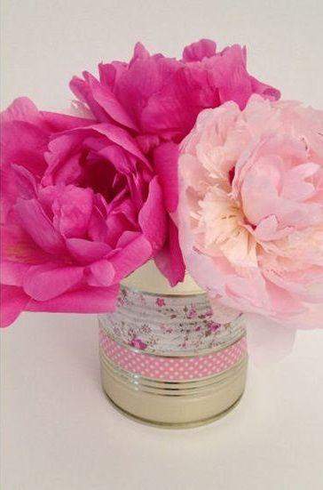 Vase fait avec une boite de conserve pouvant servir pour for Bouquet de fleurs dans une boite