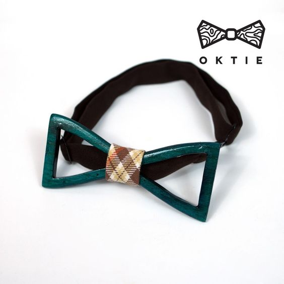 OKTIE man woman wood bow tie original hand made classic Midnight Green #OKTIE #BowTie