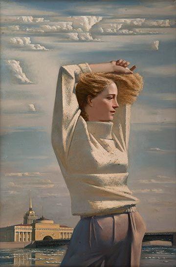 """Синица А.Ю.   """"Весна в Ленинграде""""   1987 г."""