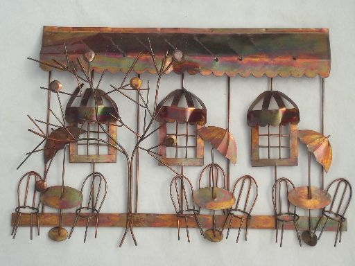 Vintage Copper Metal Wall Art Sculpture Sidewalk Cafe