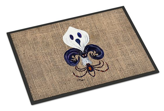 Halloween Ghost Spider Bat Fleur de lis Indoor or Outdoor Mat 24x36 Doormat