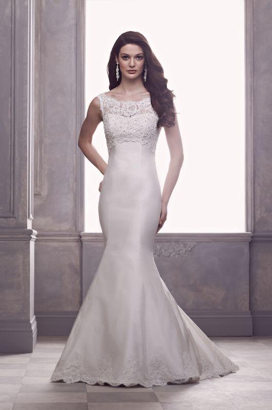 Designer paloma blanca style 4410 neckline illusion top for Wedding dresses no train