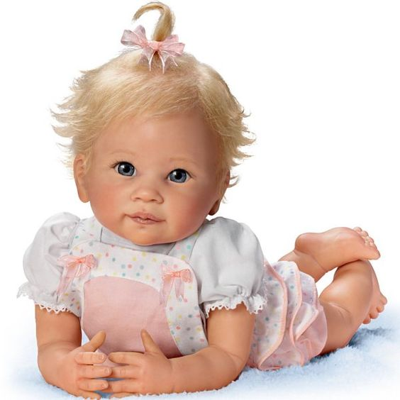 ashton drake dolls | Baby Doll: Addie's Tummy Time Baby Doll by Ashton Drake
