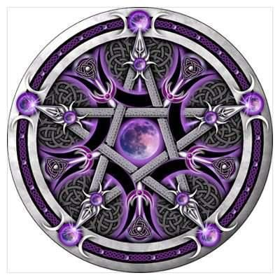pentacle of the purple moon silver pagan pentacle featuring a purple tinted moon triple goddess. Black Bedroom Furniture Sets. Home Design Ideas