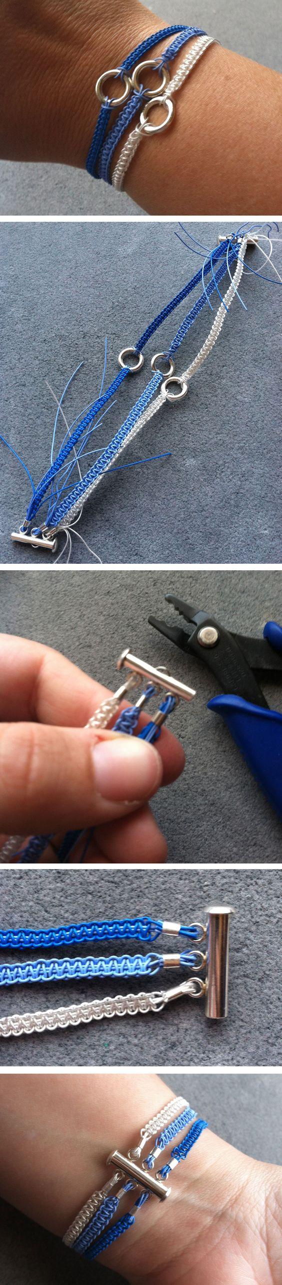 http://media-cache-ec4.pinimg.com/originals/60/9c/1a/609c1a02fa3fe7a51fe136d16da7c294.jpg DIY Soft Flex Wire Macrame 3 Strand Bracelet - Tutorial ❥ 4U // hf: