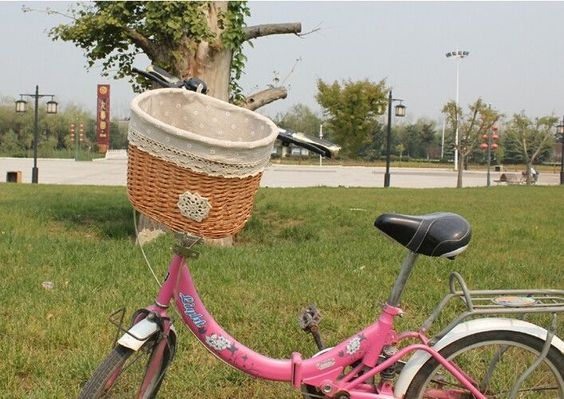 Universal Willow Wicker Bicycle Front Basket W/ Linen For Pets Shopping