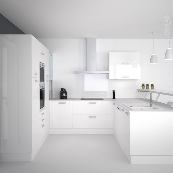 cuisine blanche moderne fa ade stecia blanc brillant cuisine and snacks. Black Bedroom Furniture Sets. Home Design Ideas