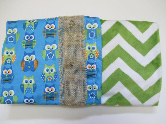 Lime Green Chevron Stripe Minky Baby Blanket