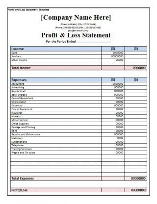 Download Profit and Loss Statement Template 37 Real Estate Tools