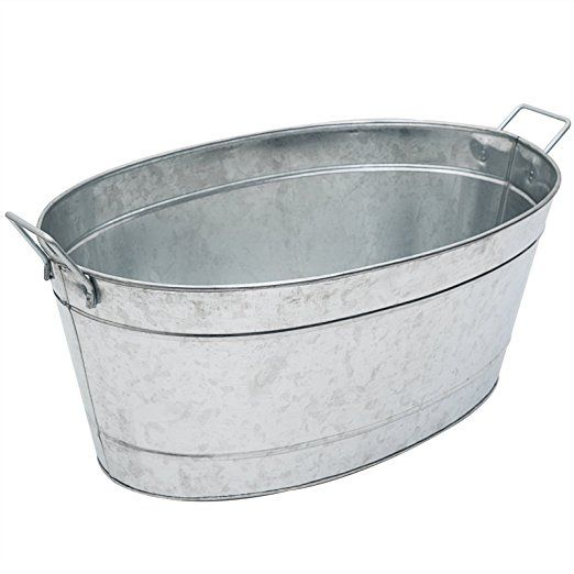 Achla Designs Large Oval Galvanized Steel Tub Steel Tub