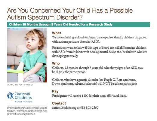 We are evaluating a blood test being developed to identify children diagnosed with autism spectrum disorder (ASD). Researchers want to know if this type of blood test will differentiate children with ASD from children with developmental delays and/or children who are developing normally. Children, 18 months through 3 years old, who show signs of an ASD may be eligible for participation.