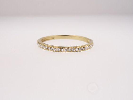 14K Yellow Gold Half Eternity Diamond Band by SellerOfJewels