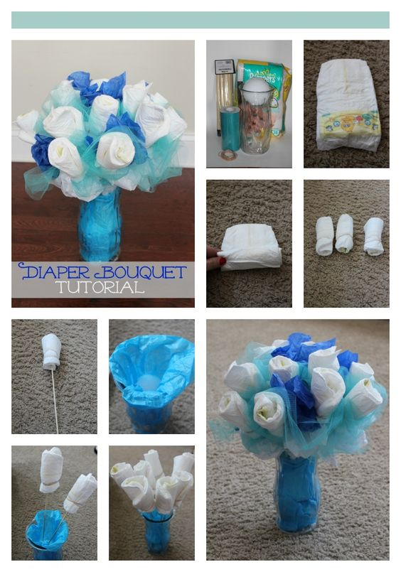 Diaper Bouquet tutorial - save money on your next baby shower by making a diaper bouquet