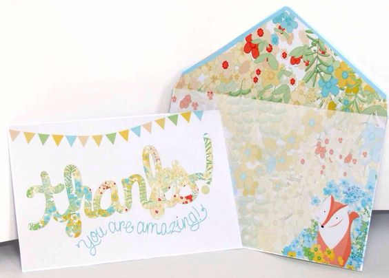 Easy fox and flower cards with really beautiful DIY envelopes.