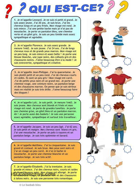 Compréhension écrite- La description fiche d'exercices - Fiches pédagogiques gratuites FLE