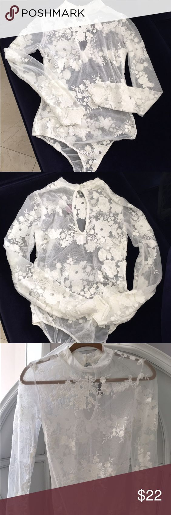 White lace bodysuit Brand new long sleeve white lace bodysuit Tops