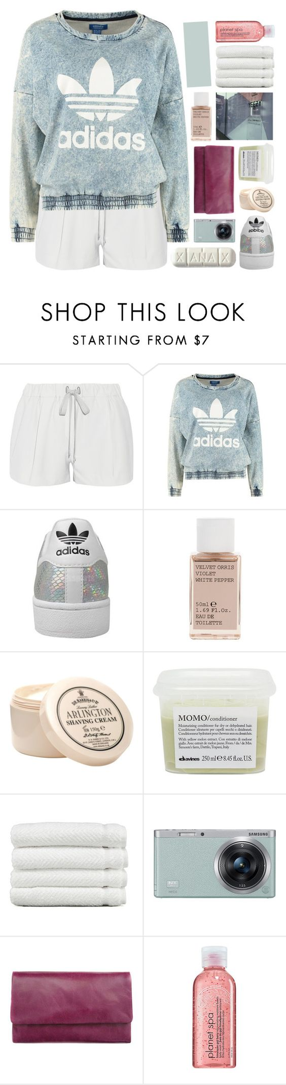 """another friday night i wasted."" by annamari-a ❤ liked on Polyvore featuring Elizabeth and James, adidas Originals, adidas, Korres, Davines, Linum Home Textiles, Samsung, Status Anxiety, Avon and women's clothing"