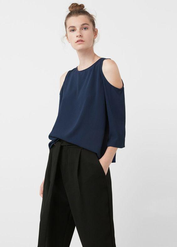 Блузка с открытыми плечами   MANGO МАНГО