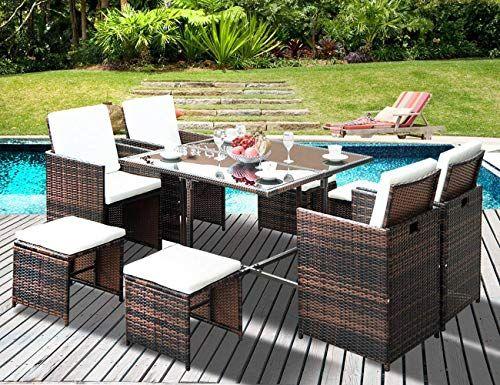 Lz Leisure Zone 9 Piece Patio Furniture Dining Set Outdoor Garden