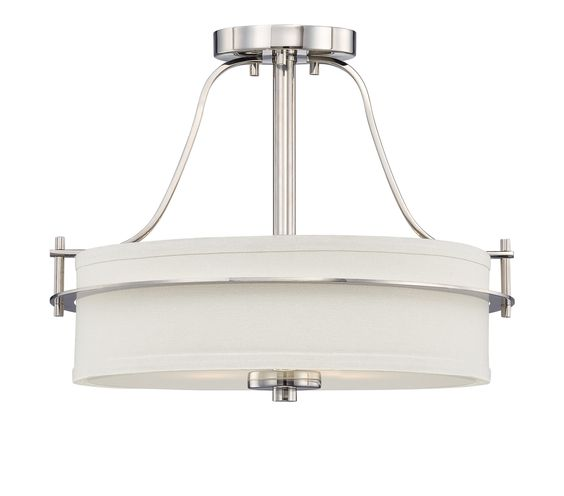 Loren - 2 Light Semi Flush w/ White Linen Shade