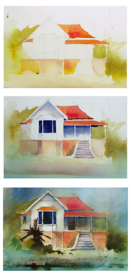 #UrbanWatercolor steps to put in color washes of #cottage, by artist John Lovett — three steps: