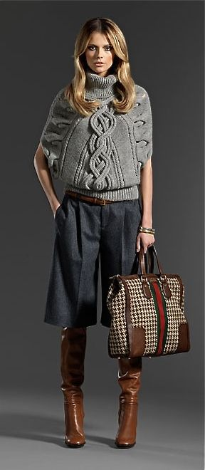 Gucci . . . this is very Fall but with a lighter sweater both in color and heft it could be a nice Spring outfit. :)