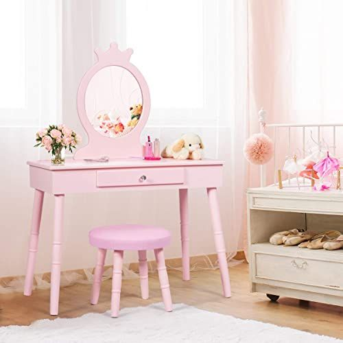 New Costzon Kids Vanity Set Wooden Princess Makeup Table Cushioned Stool Large Drawer Crown Mirror Pretend Beauty Make Up Dressing Play Set Girls Pink On In 2020 Kids Vanity Kids Vanity