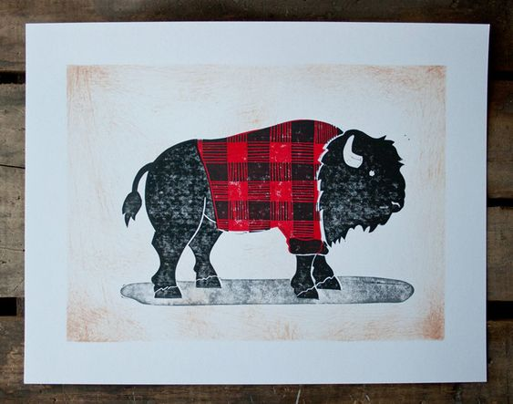 Buffalo Plaid cabin cottage art... Idk why I like this so much.: