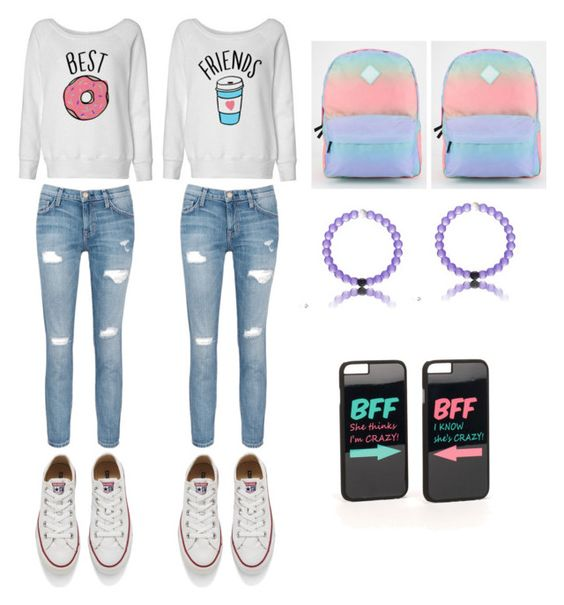 """Best friends"" by caitlynlaycock ❤ liked on Polyvore featuring Current/Elliott, Converse, Vans and JFR"