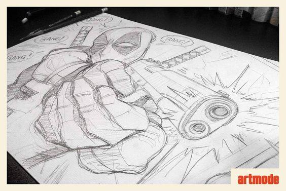"""""""Iniciando os trabalhos do feriado com Deadpool.  #sketch #movie #deadpool #marvel #drawing #desenho #arte #inspiração #deadpoolmovie #art #instart…"""""""