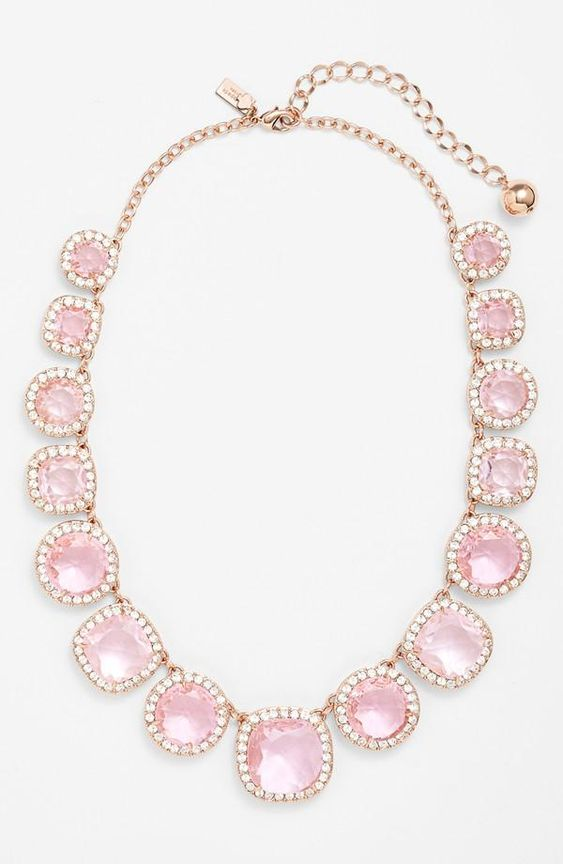 Yes please. kate spade new york 'basket pavé' graduated collar necklace in pink