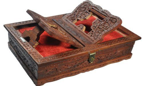 A Decorative Wooden Book Storage Box with Detailed Intricate Hand Carvings & Red Velvet Lining With Conveniently Inbuilt Book Stand for Religious Books by India Ethnicity. Price - $79.99