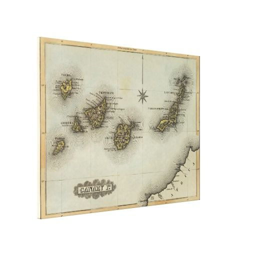 Vintage Map Of The Canary Islands 1823 Canvas Print Zazzle Com Vintage Map Canvas Prints Canvas Art