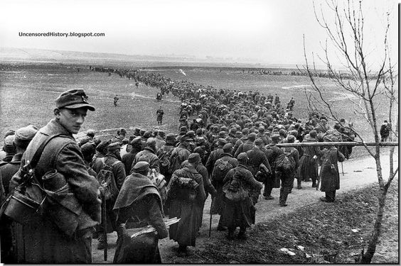 German soldiers in Koenigsberg surrender after the Soviet army stormed it on April 9, 1945: