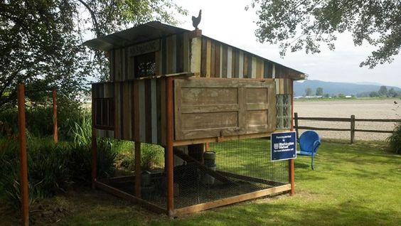 """Don has been building his new chicken coop with reclaimed wood and reused supplies/parts for his new """"Farmer Joe's Chicken Ranch"""", and ode to our recently departed friend Joe across the field who also raised chickens."""