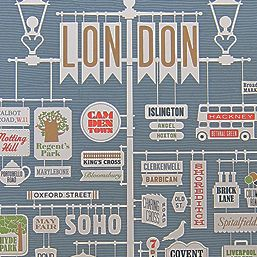 London Print by artist Jim Datz, combining typography, color, 50's inspired illustrations, and urban signage.