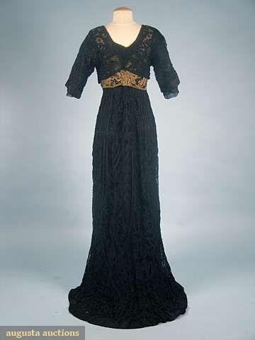 .: Lace Evening Dresses, Vintage Dresses, Battenburg Lace, Beautiful Dresses, Black Dress