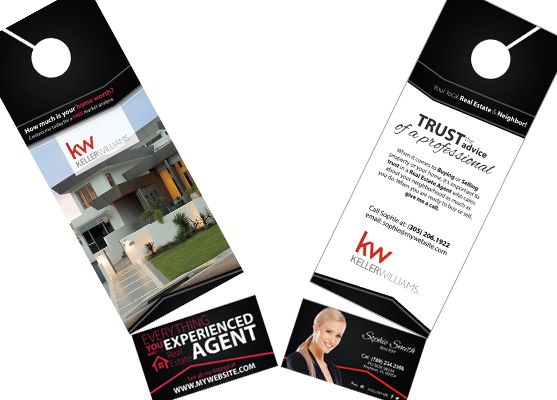 Keller Williams Door Hangers Business Card Slits Business Card Slits Keller Williams Business Cards Cards Printed Cards