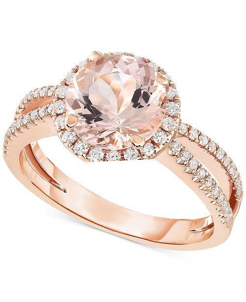Macy S Morganite 1 5 8 Ct T W Diamond 1 3 Ct T W Ring In