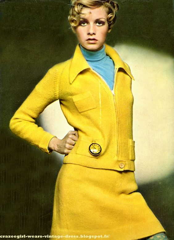 1967 Tailleur jupe en shetland / knit suit skirt , Sonia Rykiel Sous pull  / polo-neck sweater , Prisunic Montre de gilet / Large watch , Old England i guess
