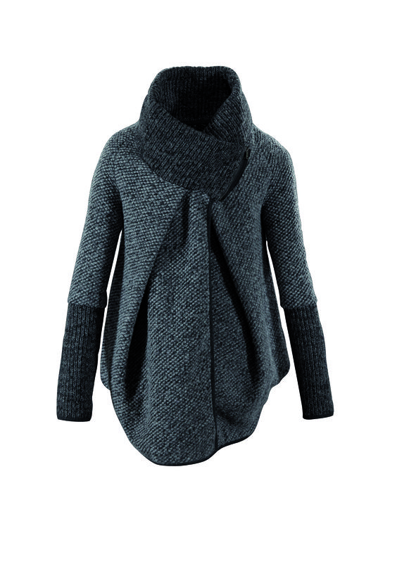 #FridaysFavourite | Loose cape in grey with wide stand-up collar #bugattifashion #coats