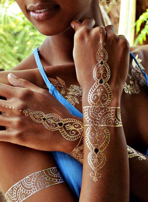 Lulu dk tattoos temporary metallic tattoo gold silver body - Flash Tattoos Tattoos And Body Art And Henna On Pinterest