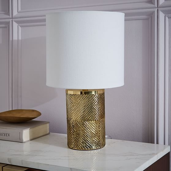 Etched Glass Table Lamp Brass White At West Elm Table Lamps Light Fixtures Home Lighting Table Lamp Brass Table Lamps Table Lamp Wood