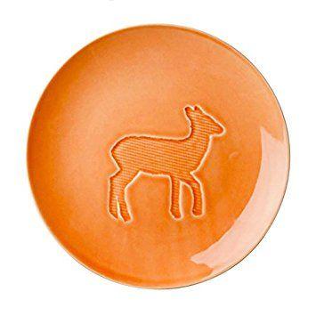 Ceramic children's plates with embossed animals design by RICE dk (Deer on orange)